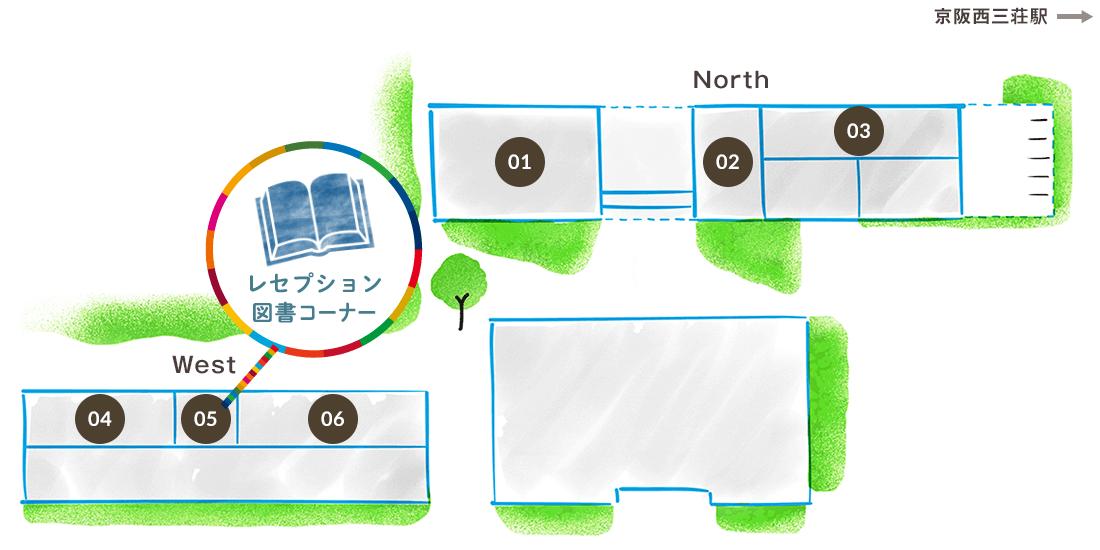 施設紹介: レセプション・図書コーナー
